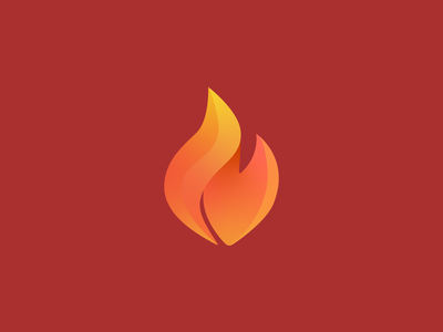 Fire icon logo gradient hot icon fire