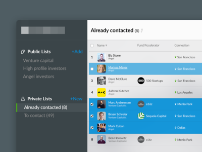 List of people minimal clean icons sidebar investor profile list concept ux ui