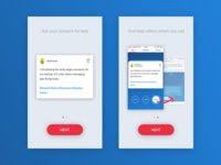 Some screens for on-boarding in an app
