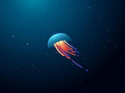 Random Jelly Fish jellyfish minimal underwater illustration