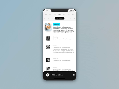Daily Meal Planner App flat ios animation mobile simple minimal concept ux ui