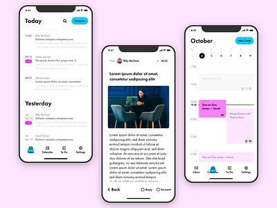 Email app concept calendar email ios teal pink ui design adobe xd app ux ui