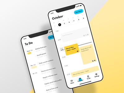 Calendar & ToDo app Concept yellow xd concept todolist calendar ios app ux ui