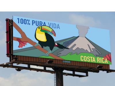 100% Pura Vida costa rica travel billboard mockup advertising design clean drawing vector illustration
