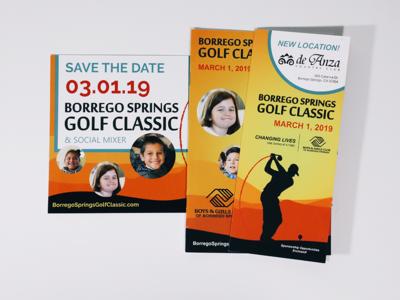 Borrego Springs Golf Classic graphic print layout design nonprofit graphic design golf branding advertising marketing collateral design clean
