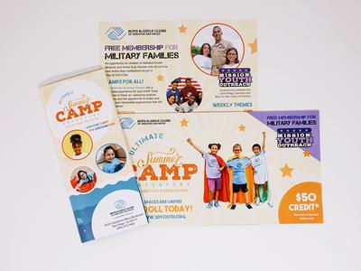 Ultimate Summer Camp poster flyer brochure layout summercamp mailer art direction print nonprofit advertising illustration clean marketing collateral design branding