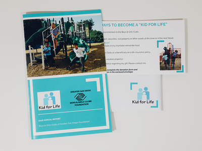 Annual Report - Kid For Life print nonprofit brochure layout fundraiser marketing collateral branding clean design
