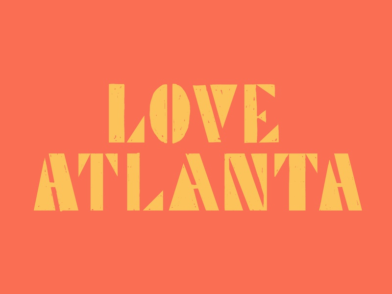 Love Atlanta retro orange yellow stencil atlanta love