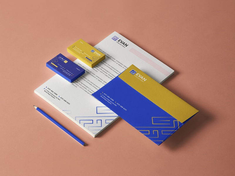 Evan - Branding stationery design stationery blue yellow branding design brand identity brand design branding