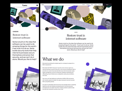 Vanta — Careers Pages collage visual identity typography web design