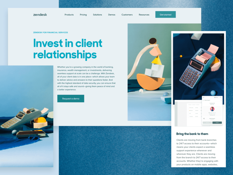 ✨Zendesk for Industries ✨— Financial Services web design layout photography zendesk