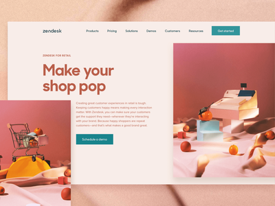 ✨Zendesk for Industries ✨— Retail prop styling photography web  design layout zendesk