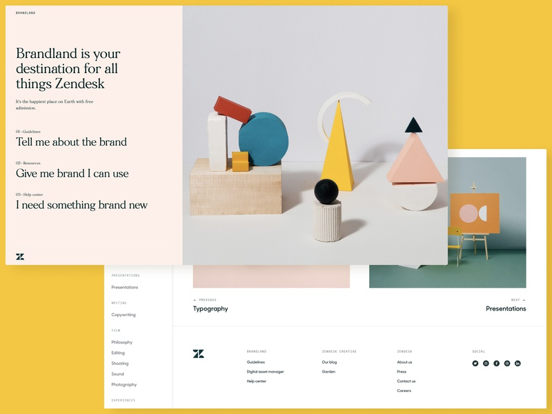Zendesk Brandland 👀 branding web design interaction design website brandland brand guide zendesk