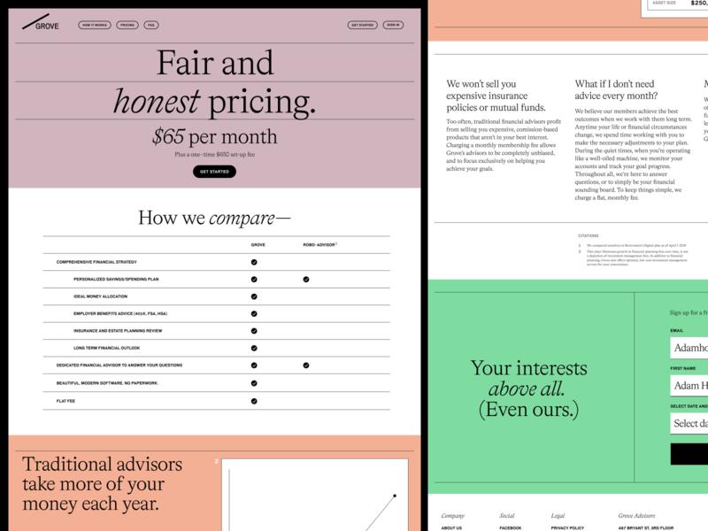 Grove Financial — Pricing website concept tech financial website layout typography website design