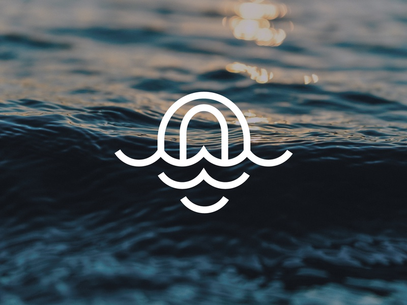 Ocean Logo dribbble logoground logo for sale graphic designer brand designer logo maker logo designer island trip cruise tourism travel logo sea ocean fish logo wave logo waves