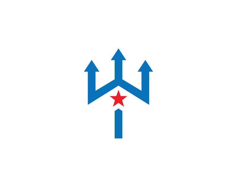 Trident Star Logo letter logo logoground stock logos logo for sale graphic designer brand designer logo maker logo designer power logo power star logo ocean sea trident logo