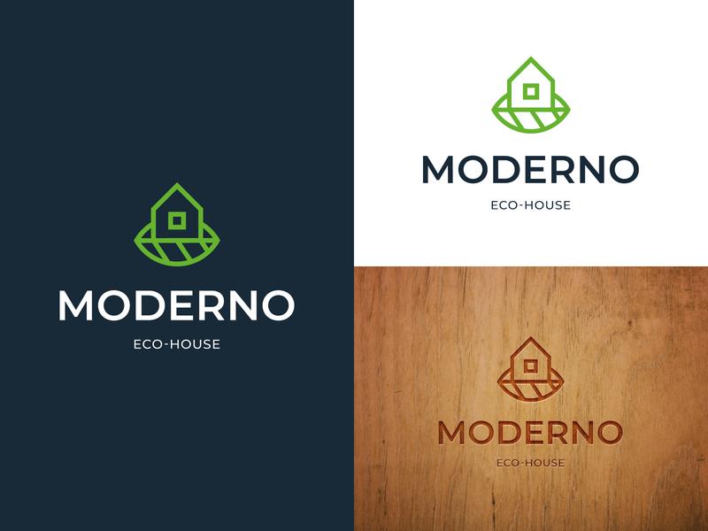 Eco-House Logo house logo modern logo logoground stock logos logo for sale graphic designer brand designer logo maker logo designer property logo for real estate logo for construction