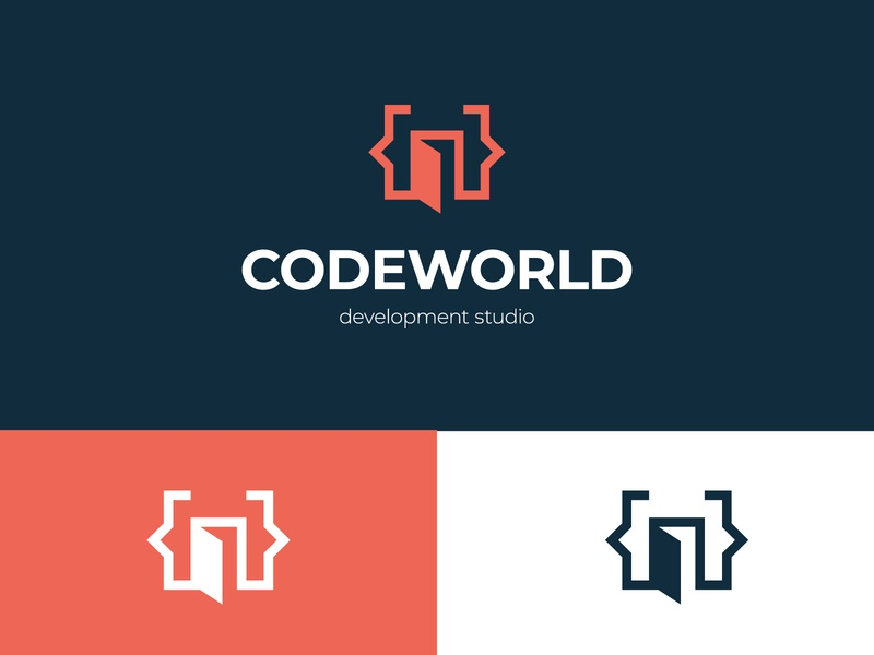 CodeWorld Logo logoground stock logos logo for sale graphic designer brand designer logo maker logo designer development coding