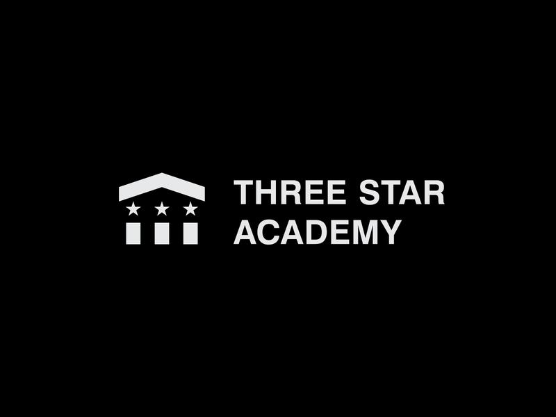 Three Star Academy Logo logoground stock logos logo for sale graphic designer brand designer logo maker logo designer lawyer university pillar logo star logo university logo for an university logo for an academy education logo
