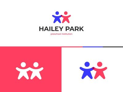 Hailey Park Logo graphic designer brand designer logo designer logo maker simple modern colorful happy child children logo logo for preschool
