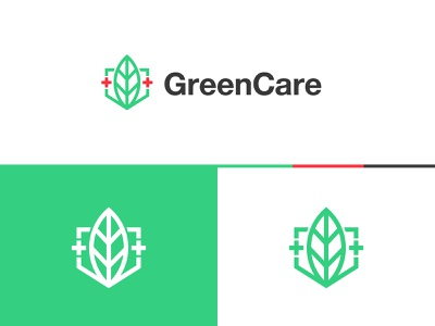 GreenCare Logo stock logos logo for sale graphic designer brand designer logo maker logo designer red cross shield leaves leaf green healthcare
