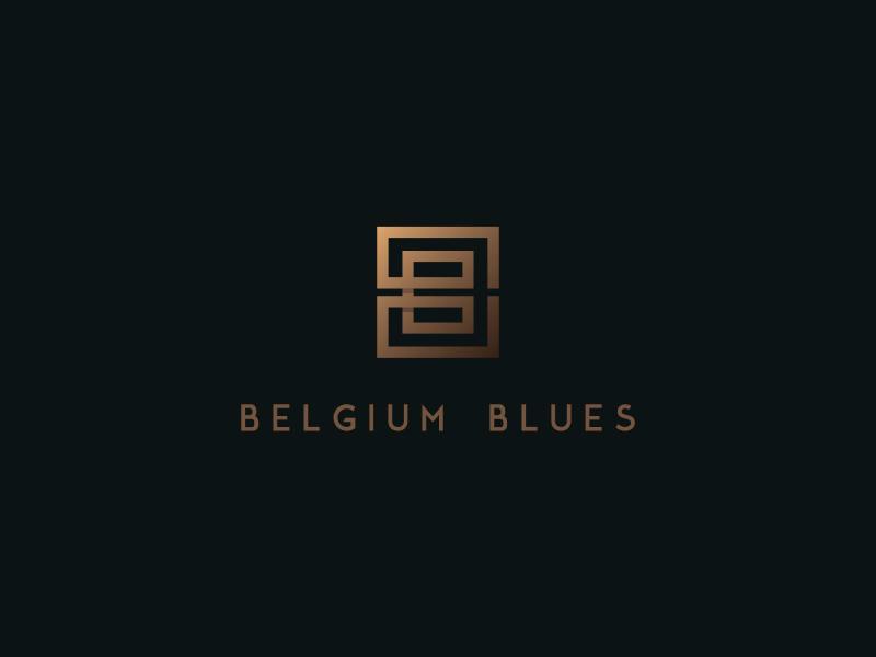 Belgium Blues golden logo simple logo modern logo restaurant alex-san graphic designer logo designer typographic logo typography letters letter logo