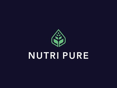 Logo for Nutri Pure modern logo simple logo leaves leaf logo nature logo eco logo green logo plant logo graphic designer brand designer logo maker logo designer