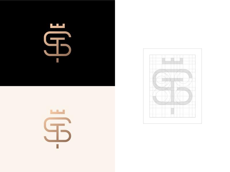 ST Monogram Logo golden gold crown logo st monogram typographic logo modern logo monogram logo letter logo graphic designer brand designer logo maker logo designer