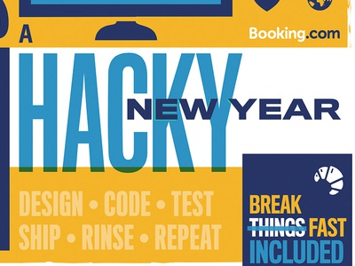 A Hacky New Year to one and all bookingcom poster vector newyear hackathon