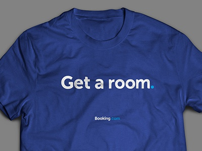 Get a Room blue room bookingcom tshirt fun events swag booking clean design font customtype