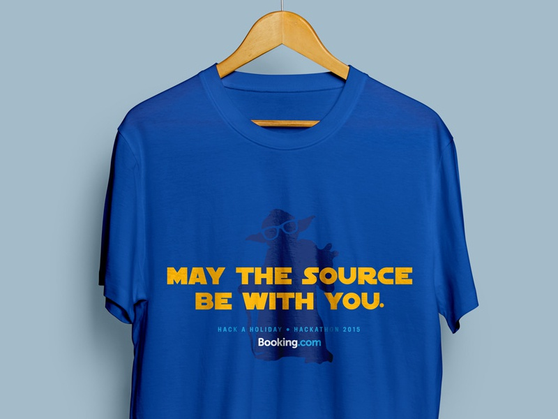 May the Source be with you starwars yoda shirt hackathon bookingcom