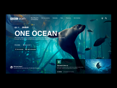 BBC Earth - Blue Planet II uxdesigner uidesigner interaction design web design national geographic nat geo sealife sea nature design web webdesign ui ux  ui ux blue planet planet blue earth bbc