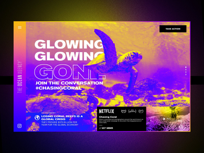 #glowinggone creative challenge entry interaction reef beach sea turtle coral neon gradient colour 2019 trend uxdesign uidesign landing page uiux web design climate change sustainability layout ux ui