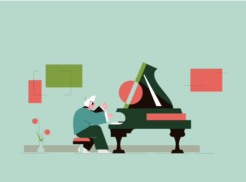 The pianist musician piano logo shapes characters illustration minimal illustration minimal design minimal abstract design abstract piano pianist characterdesign character vector