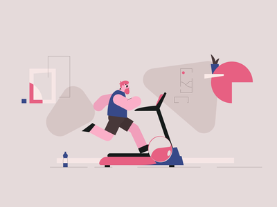 Run Cycle Wip man male character exercise room shapes abstract design abstract minimal design jogging treadmill character design character animation runner running runcycle animation