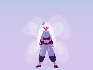Butterfly Girl andreas maris butterfly flat design character design illustration vector character