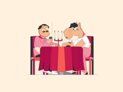 Can i trust online dating? man woman vector flatdesign online dating dating dinner restaurant table horse character animation character design character motion design gif animation 2d animation motion graphics