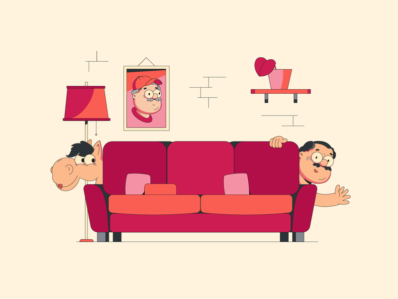 After party outline vector living room livingroom naked nude sofa couch horse man illustrator design flatdesign flat design illustration vector
