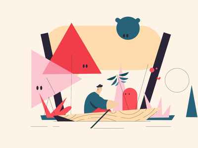 Sneakpeek loop from my first project for 2020! creatures animation digital loop rowing row transition character animation characterdesign character adventure traveller travel abstract motion graphics 2d animation