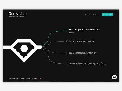 Gemvision Augmented Reality Platform youx minimal creative black startup augmented reality ar ix ui ux website web