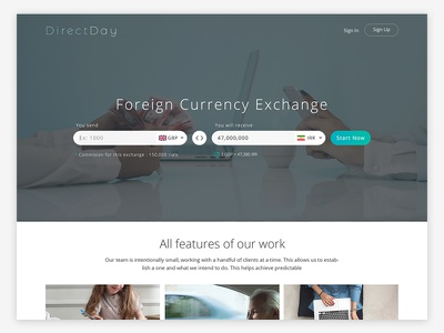 Directday Website Design landing page ui design exchange currency gif photography cinemagraph website card simple flat