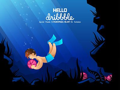 Hello Dribbble boy water under invites illustration dribbble hello shot first