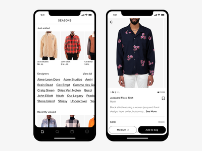 Seasons Home & Product menswear mobile ecommerce shopping sizing clothing product page brands homescreen fashion typography ux ui