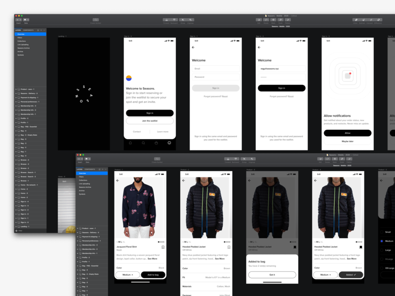 BTS sketch modals notifications sign in sign up product page ecommerce menswear fashion minimal mobile ui ux