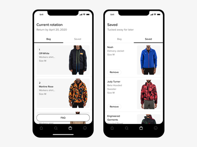 Current Rotation cta save ecommerce menswear fashion clothing navigation shopping bag shopping cart mobile minimal ux ui