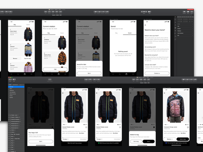 WIP bag shopping cart browse ecommerce menswear sizing drawers product page navigation clean minimal ux mobile ui