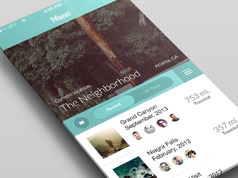 Places | Travel Concept ui ux mobile flat minimal travel map navigation slider app ios7 teal