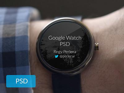 Free Google Watch PSD free psd google watch template download freebie ui playoff wearables