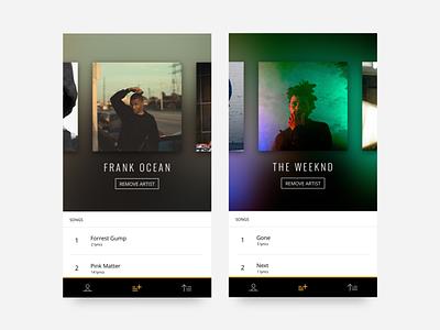 October | Select Artist carousel selection artist lyrics typography music clean minimal app ux ui mobile