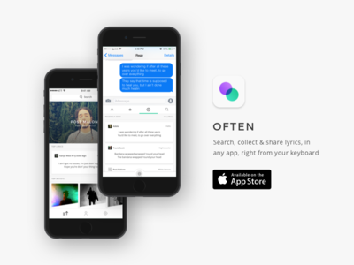 Often | Share lyrics right from your keyboard trending browse keyboard app icon app ios lyrics music mobile ux ui